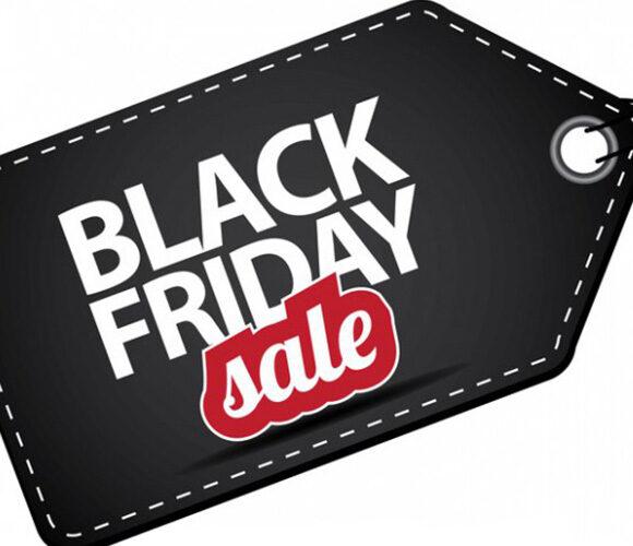 Black Friday skylt som symboliserar att det är fredag